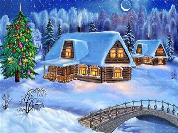 Christmas Tree Village In Winter 5D Diy Diamond Painting Kits NW91044