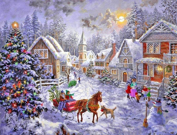 Christmas Tree Village In Winter 5D Diy Diamond Painting Kits NW91052