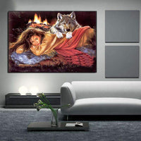 New Beauty And Animal Wolf 5d Diy Embroidery Diamond Painting Kits QB8101