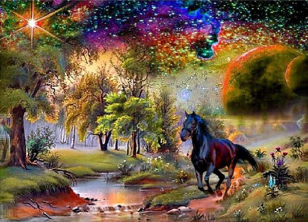 5D DIY Diamond Painting Kits Arts Cross Stitch Black Horse VM4062