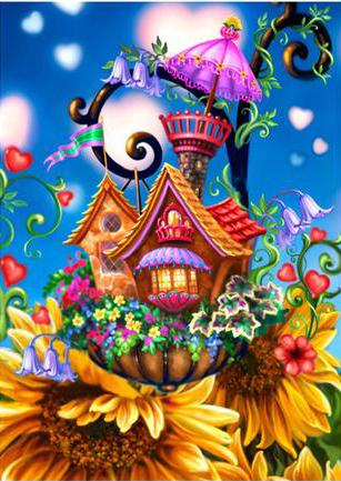 New Cartoon Houses 5D DIY Embroidery Cross Stitch Diamond Painting Kits NA0725