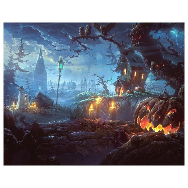 New Halloween Pumpkin Cemetery Embroidery 5d Diy Stitch Diamond Painting Kits QB8145