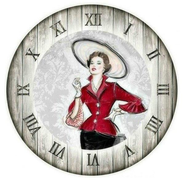 New Women Portrait Clock 5D DIY Embroidery Cross Stitch Diamond Painting Kits NB0157