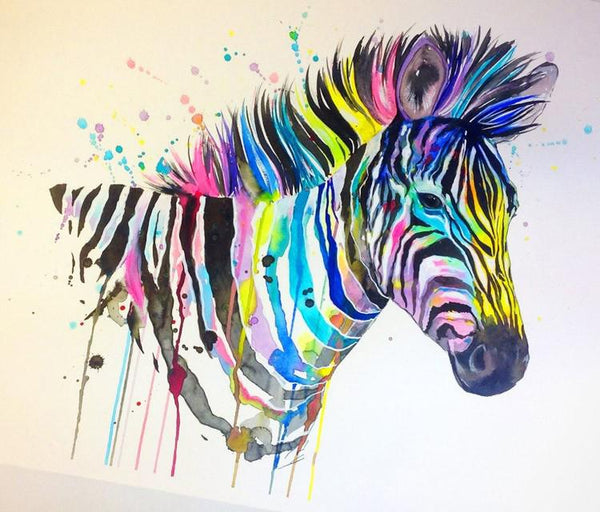 5D Diy Diamond Painting Kits Watercolor Zebra NA20369