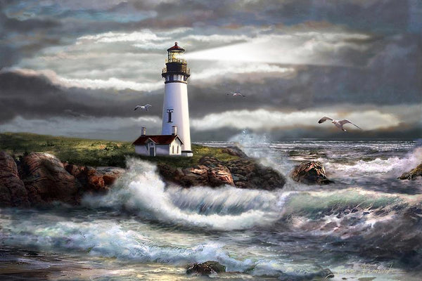 2019 5d Diy Oil Painting Style Waves And Lighthouse VM1369