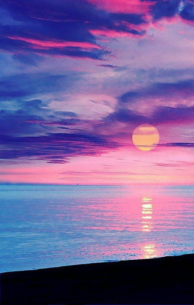 5D DIY Diamond Painting Kits Mosaic Cross Stitch Pink Sky Landscape VM92206