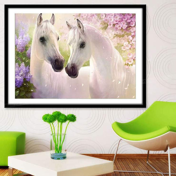New Arrival Hot Sale Animal White Horse Pattern 5d Diy Diamond Painting Kits VM705