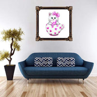New Arrival Hot Sale Cute Cat In Teacup 5d Diy Embroidery Diamond Painting Kits VM0009 (1766923468890)