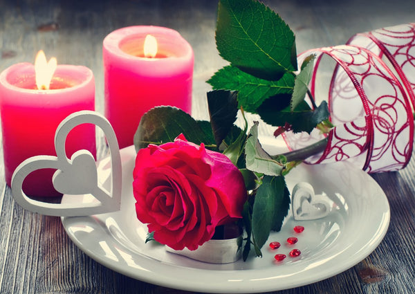 5D DIY Diamond Painting Mosaic Art Kits Red Rose Candle VM92219