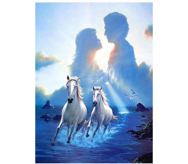 5D Diy Diamond Painting Kits Romantic Love Horse AF9206