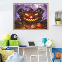 2019 5d Diy Diamond Painting Kits Pumpkin Lantern With Cats VM98046