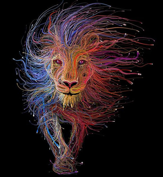 2019 5D DIY Diamond Painting Colored Hair Lion VM92298
