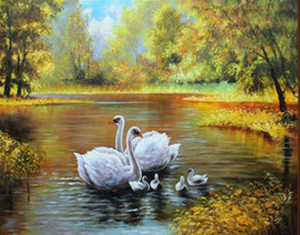 5D DIY Diamond Painting Kits Swans Family NA0715