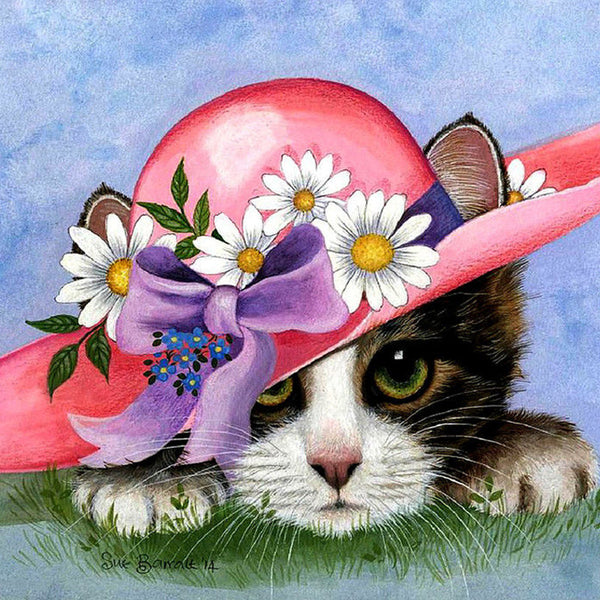 5D Square Diamond Painting Special Lovely Cat With Hat Diy VM1132 (1766939820122)