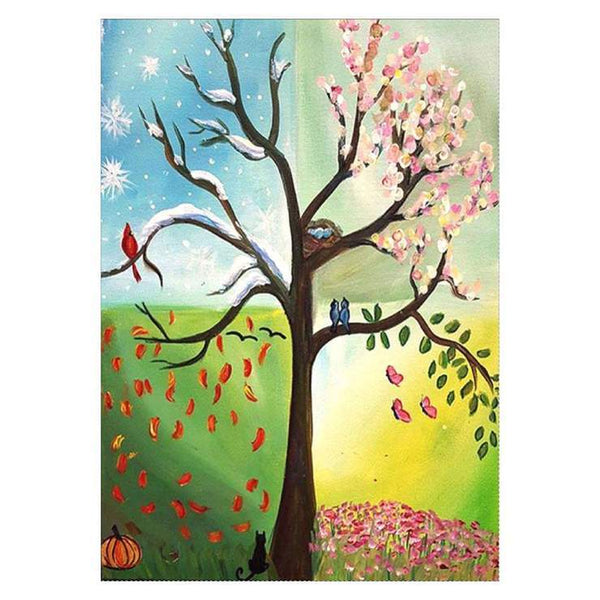 Kids Gift Lovely Four Seasons Trees Diamond Painting Kits Af9601