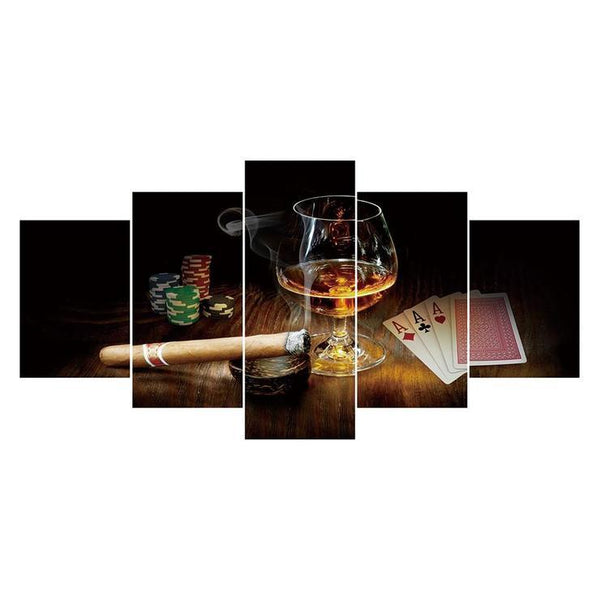 Multi Panel Wine Glasses And Cigars 5D DIY Full Drill Diamond Painting Kits QB8054