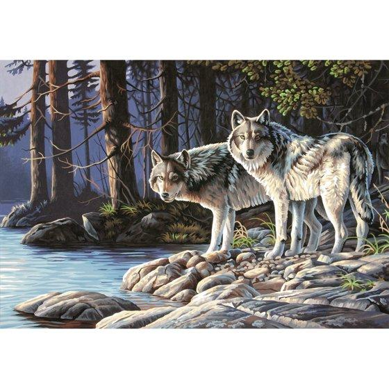 2019 5D Diy Diamond Painting Two Wolves By The River VM5002
