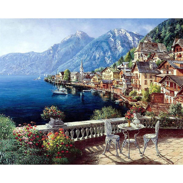 2019 5D Diy Diamond Painting Kits Landscape Seasides Town VM5014