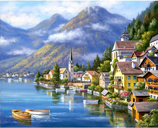 2019 5D DIY Diamond Painting Kits Landscape Seaside Town VM5017