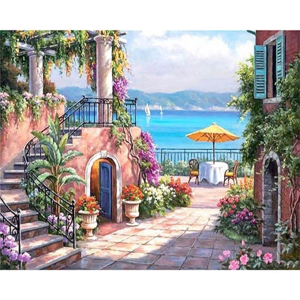 2019 5D DIY Diamond Painting Kits Landscape Seaside Town VM5018