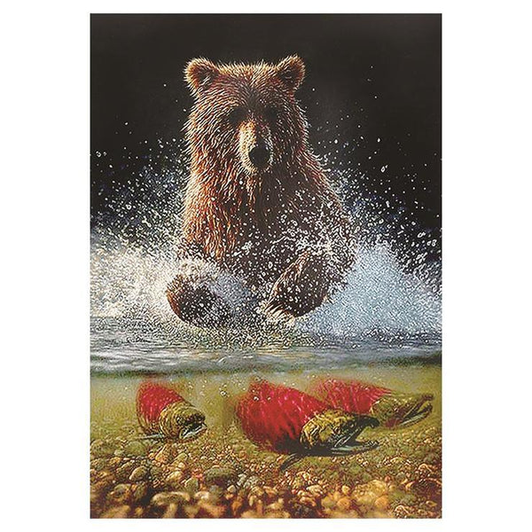 Hot Sale Oil Painting Styles Bear Running In The River Diamond Painting Kits Af9703
