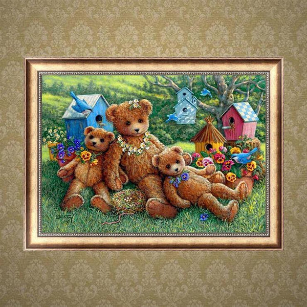 Kids Gift Cartoon Styles Three Teddy Bears Diamond Painting Kits AF9705