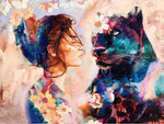 Modern Art Styles Watercolor Beauty And Dog Diamond Painting Kits AF9390