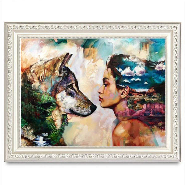 Cheap Oil Painting Styles Beauty And Wolf Diamond Painting Kits AF9377
