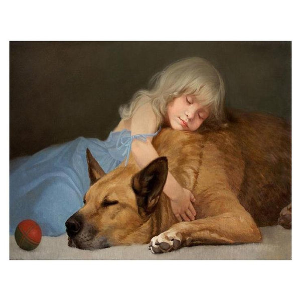 Oil Painting Styles Warm Little Girl Big Dog Diamond Painting Kits AF9378