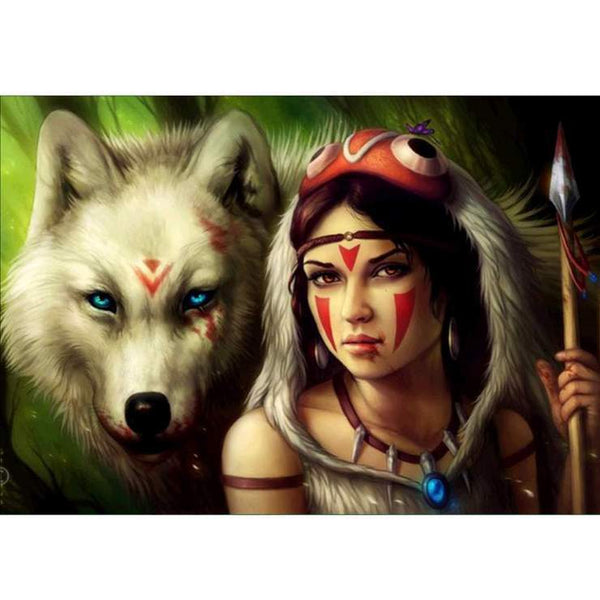 Hot Sale Modern Art Styles Pretty Beauty And Wolf Diamond Painting Kits AF9370