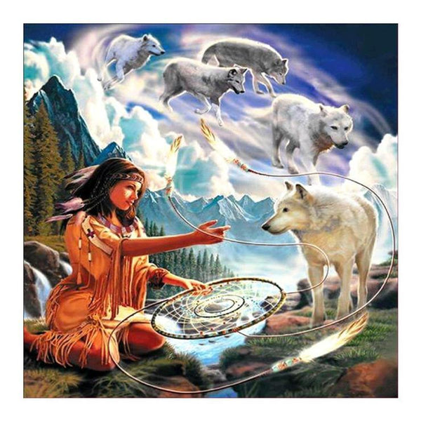 5d Diy Diamond Painting Kits Beauty And Wolfs AF9335