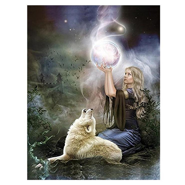 Fantasy Styles Magic Beauty and Wolf Diamond Painting Kits AF9381