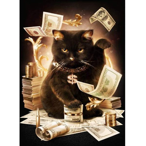 2019 5d Crystal Diamond Painting Kits Cool Black Cat Dollar VM0016 (1766923599962)