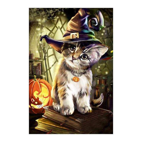 New Arrival Hot Sale Curious Cat Wears Magic Halloween Hat Diamond Painting Kits VM0057