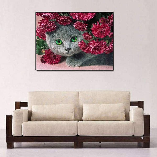 Hot Sale Lovely Cat Flowers Diy 5d Crystal Diamond Painting Kits VM0017 (1766923632730)