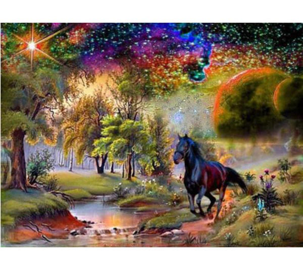 2019  5D DIY Diamond Painting Kits Horse In The Forest VM4062