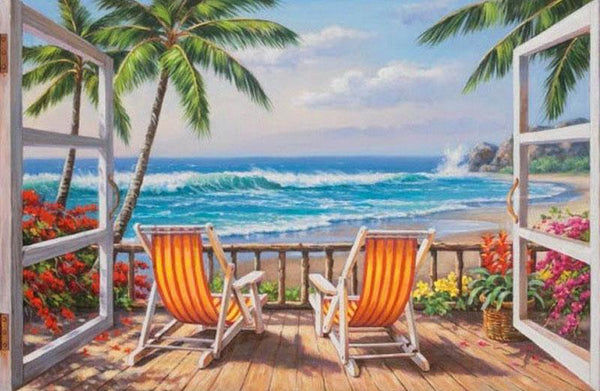 2019 5D DIY Diamond Painting Kits Window Beach Landscape VM92379