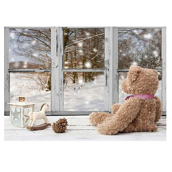 5d DIY Diamond Painting Winter Christmas Window Bear QB8128