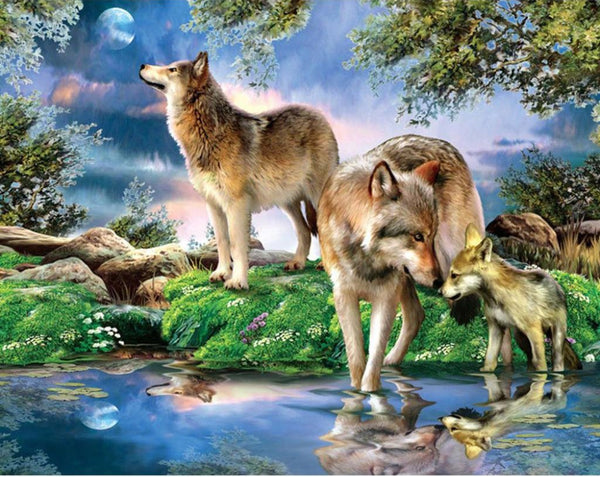 2019 5D Diy Diamond Painting Kits Cross Stitch Art Wolf In Forest VM92398