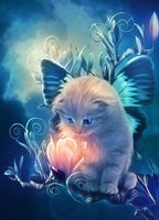 2019 5D Diy Diamond Painting Kits Dream Cat And Flower VM7504