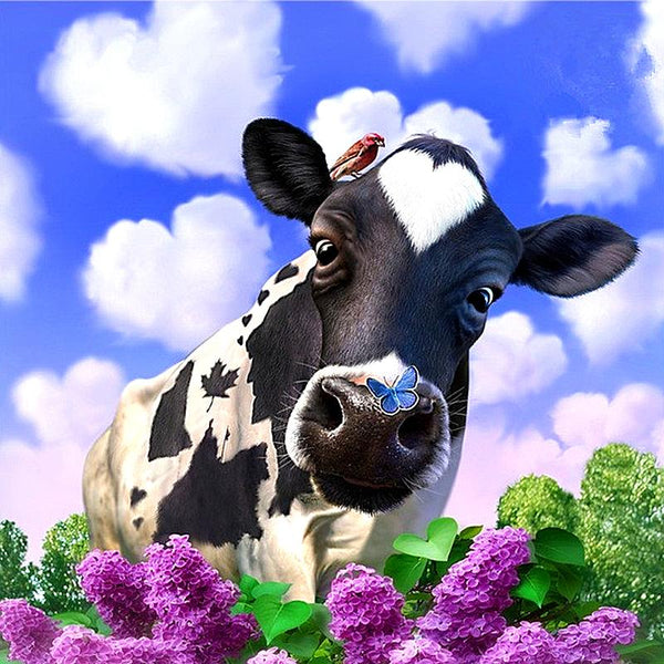 2019 5D DIY Diamond Painting Kits Black And White Cow Under The Sky VM90089