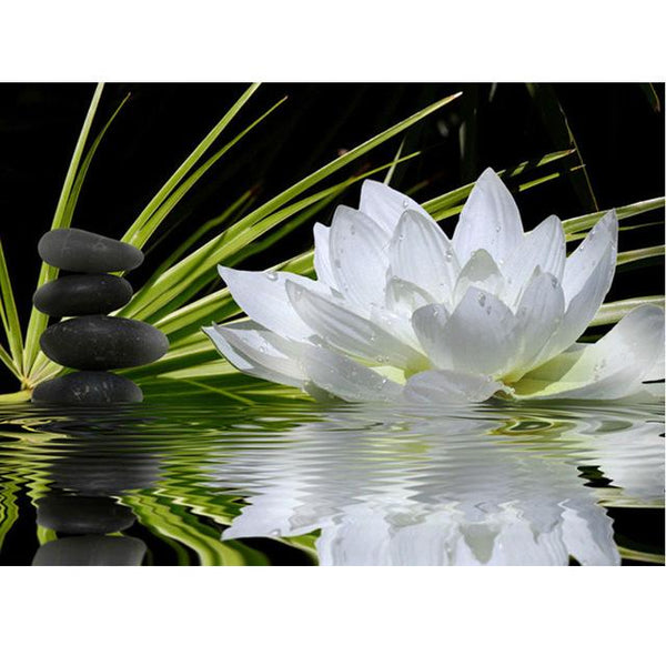 2019 5d Diy Diamond Painting Lotus Flower White VM3026
