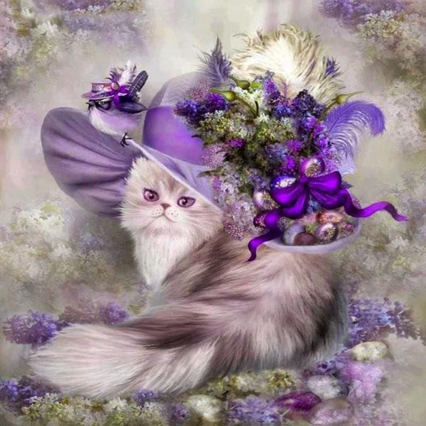 2019 5D DIY Diamond Painting Animal Flower Cat VM90409