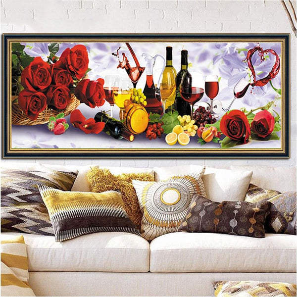 Large Size 2019 New Colorful Wine Rose 5d Diy Diamond Painting Kits VM1199