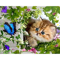 2019 5d DIY Diamond Painting Cat With Butterfly VM12014 (1766955352154)