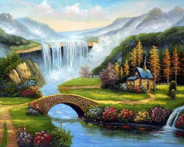2019 5d Diy Diamond Painting Kits Waterfall Mountain VM4163 (1767043465306)