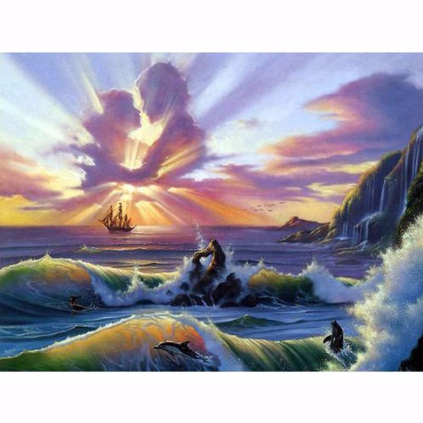 5D DIY Diamond Painting Kits Seaside Sky Lovers VM92271