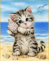 2019 5d Rhinestone Painting Cute Kitten And Conch On Beach Diy  VM01199 (1766945521754)