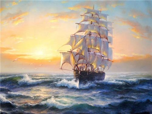 Dream Wall Decor Vintage Sailing Boat Diamond Cross Stitch Kits VM1054 (1766935756890)