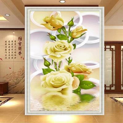 Hot Sale 2019 New Yellow Flowers 5d Diy Diamond Painting Kits VM8637